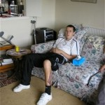 Chris Parrott recuperating after being shot in the ankle in Afghanistan.